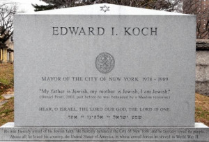 Koch's headstone: 'My father is Jewish, my mother is Jewish, I am ...
