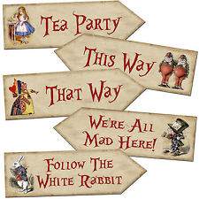 ... in Wonderland Arrow Quote Signs Prop Mad Hatters Tea Party Decoration