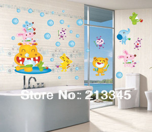 Mall] - kid dental health cartoon animals brushing wall stickers ...