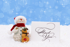 Thank You Snowman to Go With Christmas and Holiday Thank you Post
