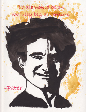 Robin Williams Peter Pan Hook 9x12 Quote Watercolor Print