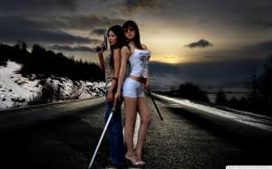 Women Sunsets Hwang Mi Hee Asians Gun Sword Guns Roads Winter ...