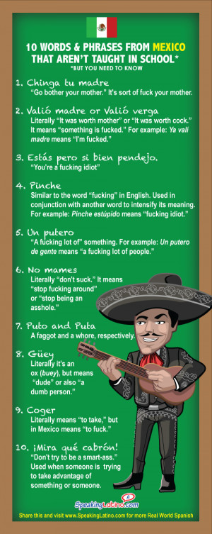 INFOGRAPHIC: 10 Mexican Spanish Swear Words and Phrases Not Taught in ...