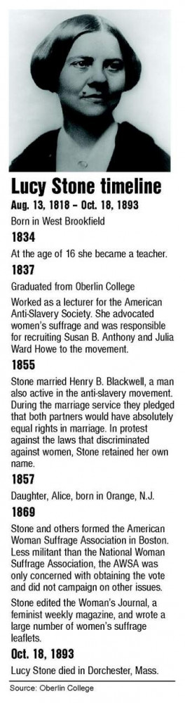 Lucy Stone (class of 1837) life timeline.
