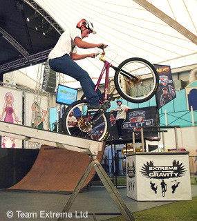 Using a specially adapted mini ramp to include MTB trials equipment ...