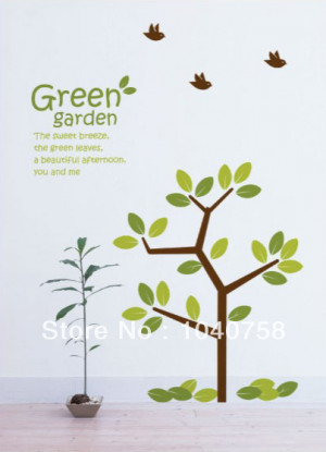 Green Garden Leaves Trees and Breeze with Birds and Quotes Family Tree ...