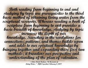Quote on scripture study by Elder Bednar.