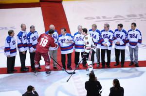 Mike Eruzione 1980 USA Olympic hockey team player Mike Eruzione shakes ...