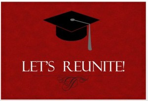 30 year invitation red with black graduation cap
