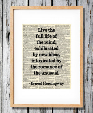 Ernest Hemingway Quote on Life - Art Print on Vintage Antique ...