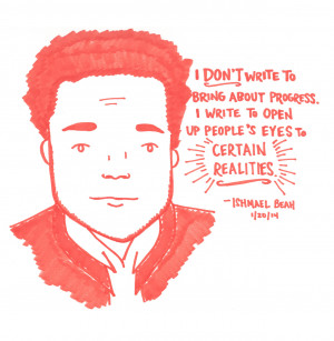 Ishmael Beah at Greenlight Bookstore, 1/20/14Buy the drawing here.