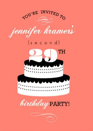 Coral Black And White Cake 30th Birthday Invitation