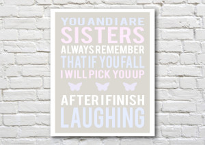 Happy Birthday Twin Sister Quotes Sisters art print- printable