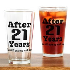 21st Anniversary Funny Quote Drinking Glass for