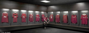 Top man: Ryan Giggs with shirts he has worn in his 20-year United ...