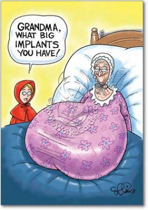 Grandmas Big Implants Adult Funny Birthday Card Nobleworks