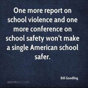 One more report on school violence and one more conference on school