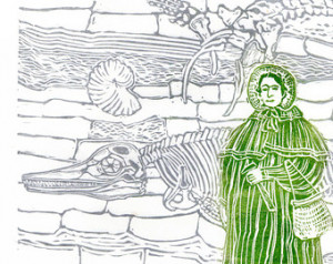 Mary Anning and Fossil Cliffs Linoc ut History of Paleontology, Women ...