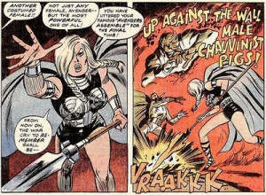 ... the wall, male chauvinist pigs! Art by John Buscema and Tom Palmer