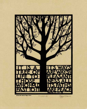 Above: Tree of Life silkscreen print on Canson paper - Heather Grey