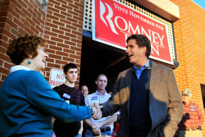 Tagg Romney 9right), eldest son of presidential candidate Mitt Romney ...