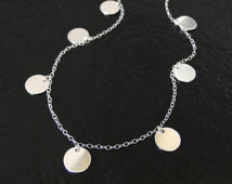 Round Disc, Coin Drop Necklace In Sterling Silver - Floating Dots - As ...
