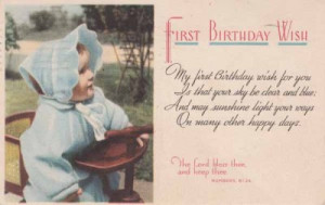 Vintage BIRTHDAY POSTCARD c1951 First Birthday Wish Girl Bible Quote
