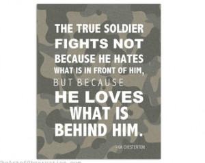 Military Art Print, Inspirational Q uote Typography, GK Chesterton ...