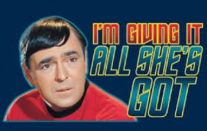 Star Trek Scotty T Shirt: I'm Giving It All She's Got - Adult, Ladies ...