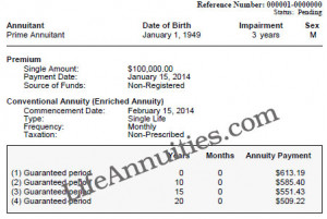 Sample of an Impaired Annuity Quote
