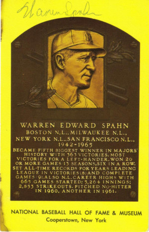 Warren Spahn Autographed Baseball