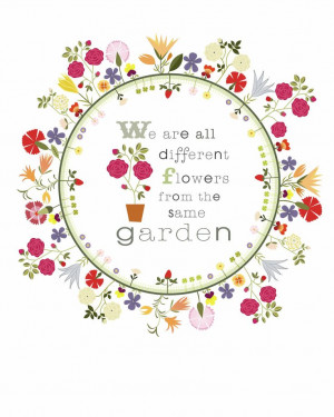 ... Original Illustration Flower Circle Garden Quote - Limited Edition