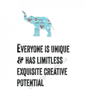 INSPIRATIONAL Quote Elephant Creative Potential by ArtThatMoves, $12 ...