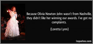 Because Olivia Newton-John wasn't from Nashville, they didn't like her ...