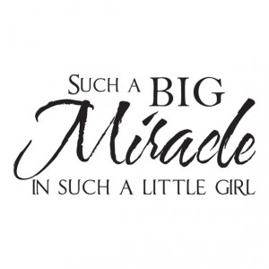 Baby Girl Nursery Wall Quote Decal - Such a Big Miracle in Such a ...