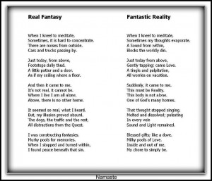Poem comparing Fantasy and Reality