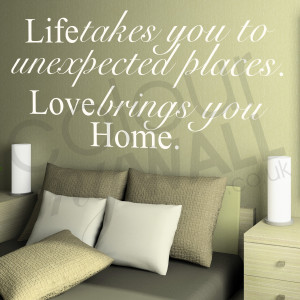 ... unexpected places. Love brings you Home. Inspirational Love Quote Wall
