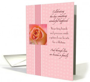 Daughter Adoption Anniversary from Mom and Dad Pretty Pink Rose card