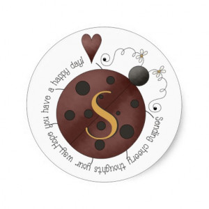 Whimsical Ladybug Quote Monogram Stickers