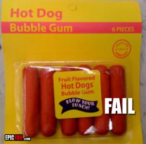 hot dog bubble gum fail