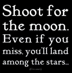 Shoot for the moon, even if you miss you'll land among the stars