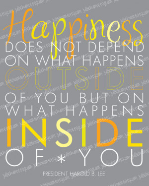 LDS Happiness Quote Subway Art POSTER by Harold B. Lee