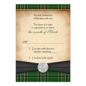 Irish Tartan Celtic Claddagh Lucky Wedding RSVP Custom Invitation
