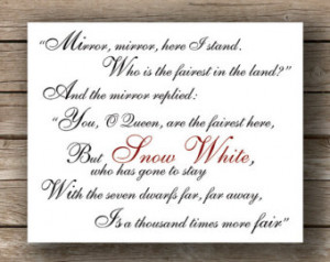 Mirror Mirror, Brothers Grimm, Snow White, Typography Print, Quote Art ...