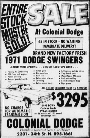 new car advertisement from Colonial Dodge