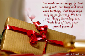 ... love you. Happy Birthday, son. With lots of love, your proud parents