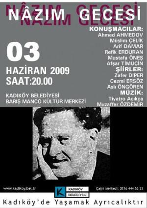 Kadıköy Barış Manço Kültür Merkezi'nde Nazım Hikmet Gecesi