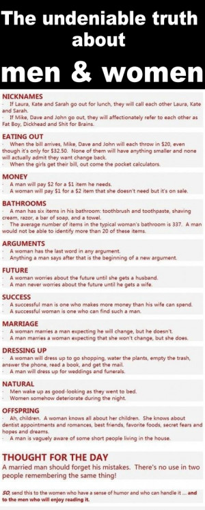 funny differences between men and women