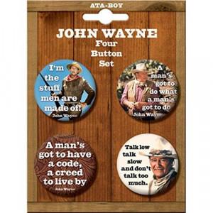 John Wayne White One Size ata_81358BT4_JohnWayne Quotes 4 Piece Button ...