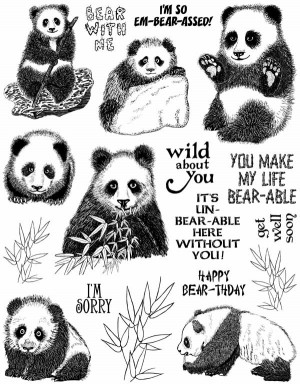 Panda Bears Unmounted Rubber Stamp Sheet